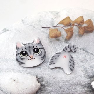 Warm heart cat handmade earrings tabby cat orange cat anti-allergic ear pin painless ear clip