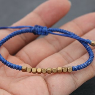 Cube Brass Beads Blue Woven Bracelets, Simple Basic Unisex Brass