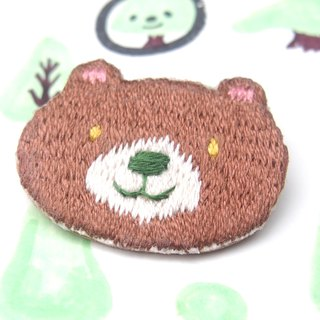 ◭ small animal head embroidery brooch ◮ red brown Bear