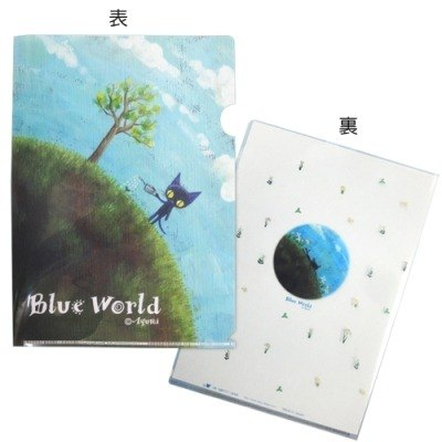 BLUE WORLD, Japan Blue Cat Love the Earth A4 folder _Green (BW1401302)