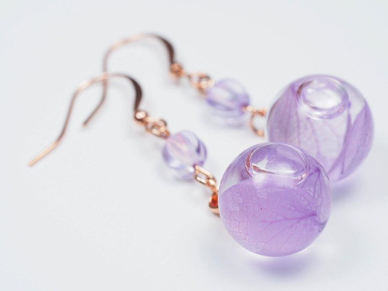 愛家作-OMYWAY 粉紫色繡球花浮游花琉璃珠玻璃球耳環耳夾1.4cm