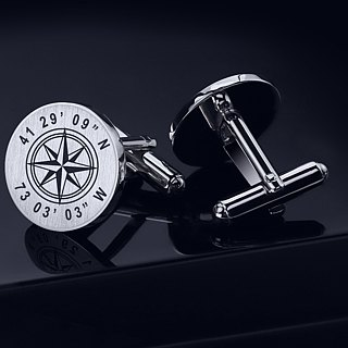 Coordinates Cufflinks engraved - Wedding Cufflinks for groom - Sterling Silver