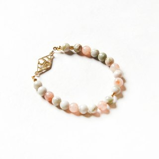 JUelry logo color stone bracelet - JUelry logo 雙色6mm天然石手環