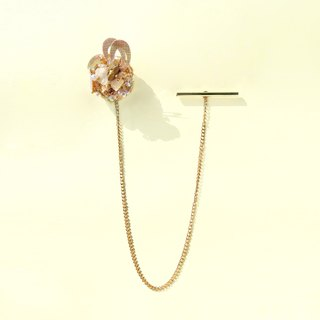 Planet - Gold. Champagne gold with white crystal stone mini island long brooch