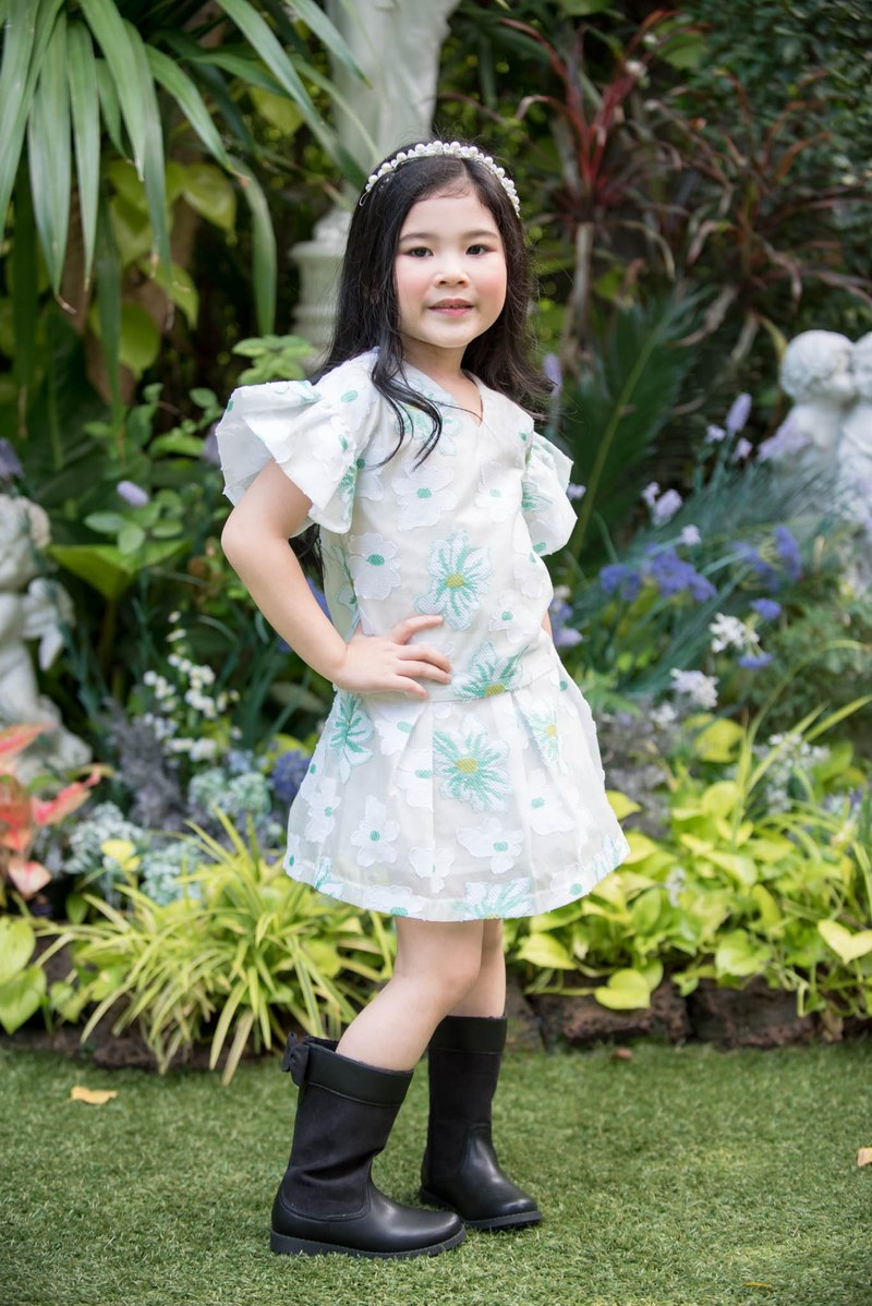 Girls Floral Organza Top-Green