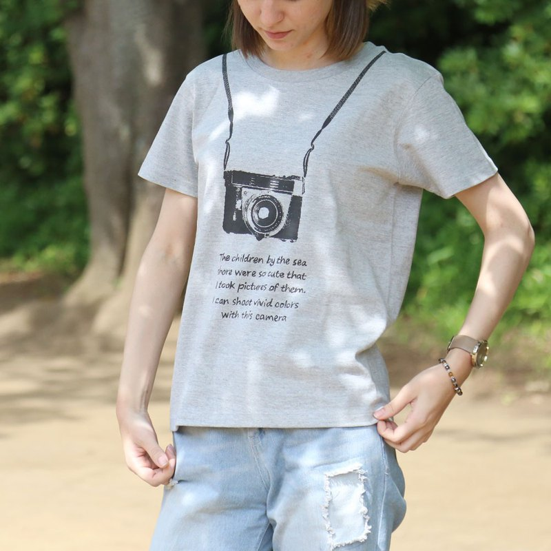Camera printed T-shirt - Gray - women's / men's / unisex