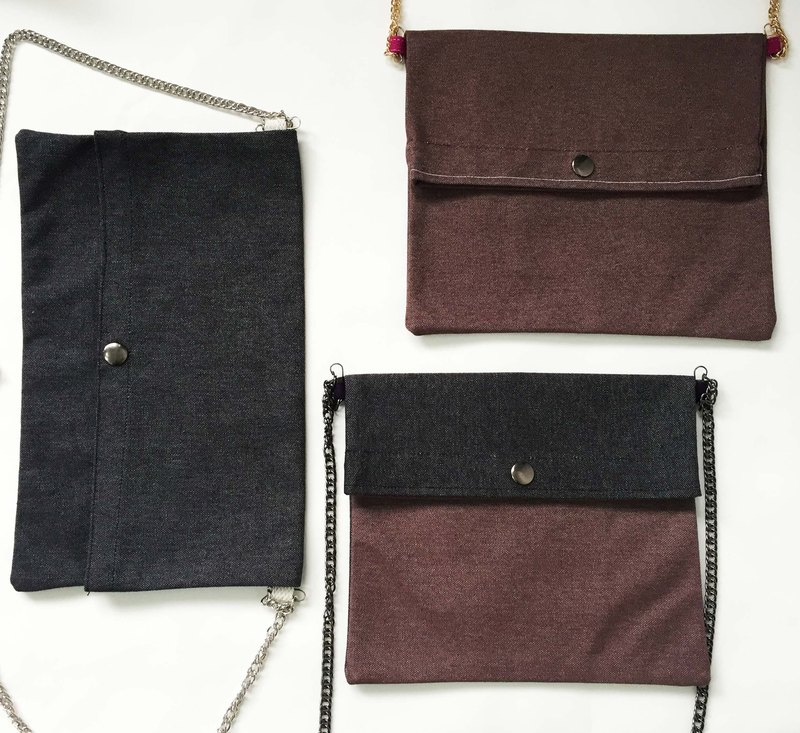 Wahr_ dark gray + brown  clutch / chain bag / shoulder bag/with chain