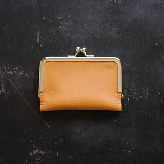 Leather business card (card) case / Camel / pig suede / gift also
