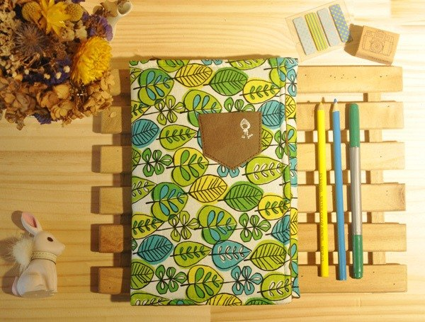 Bed time cloth book cover / book clothing / stationery storage / bookmarks (green leaves)
