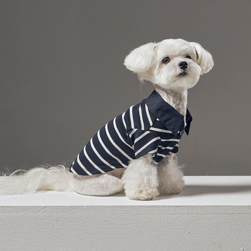 Shirt collar long sleeves striped striped POLO pet clothing