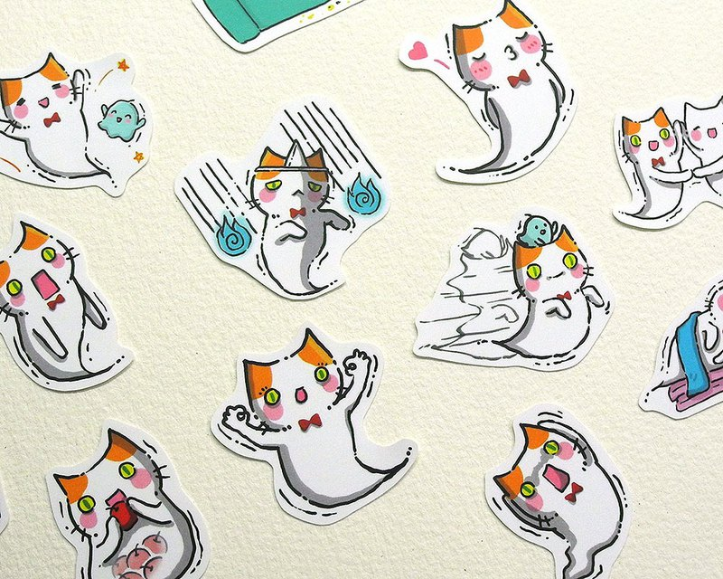 Ghost kitten waterproof sticker set