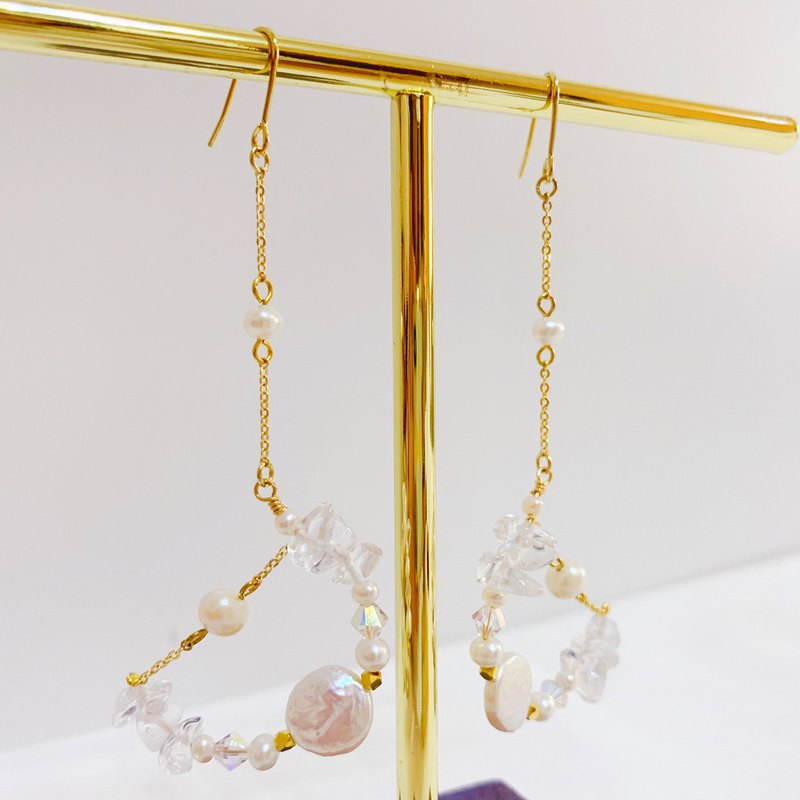 Mag Earrings | Handmade | Freshwater Pearl, Natural Crystal, Swarovski Crystal Earrings