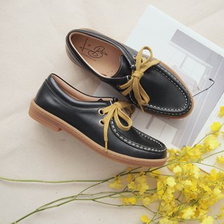 Burnished Calf Casual Leather Shoes (Black)