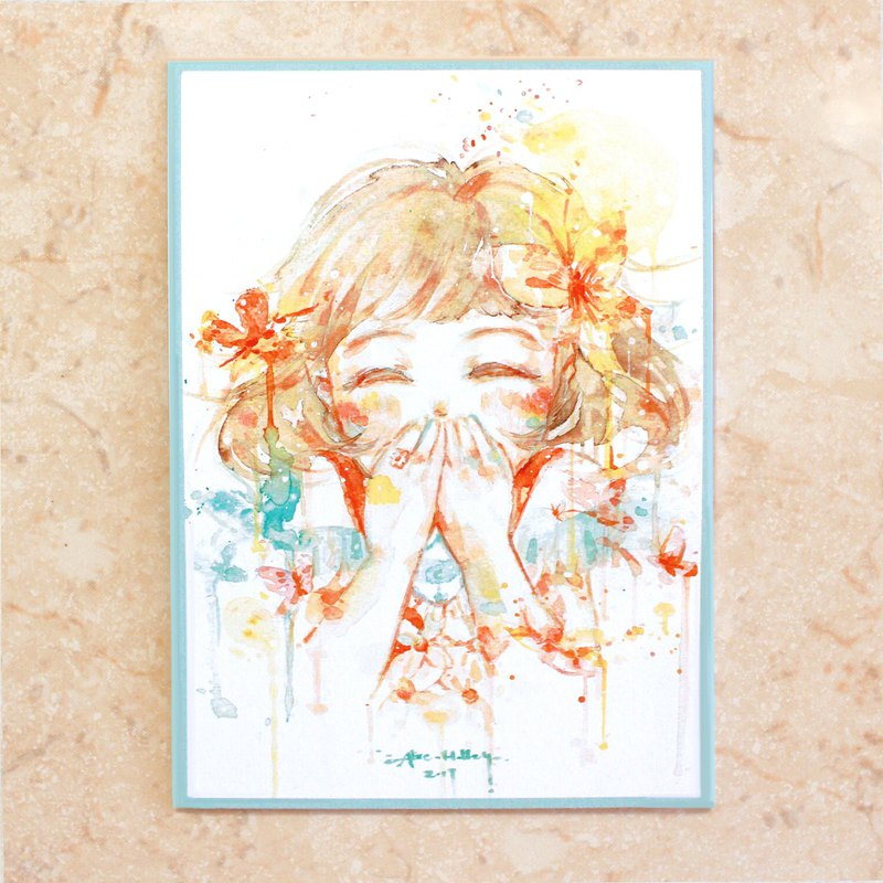 - Alice Hobbey - Fantasy Girl series double-sided watercolor illustration postcard