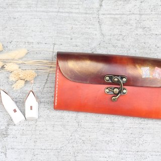 Accordion vegetable tanned leather long wallet - Lisbon story - Warm Orange color