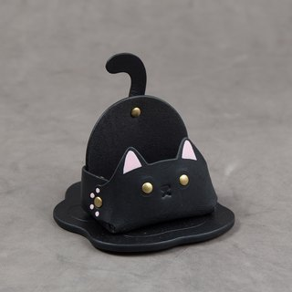 Animal series - business card holder / mobile phone holder (narrow version - black cat)
