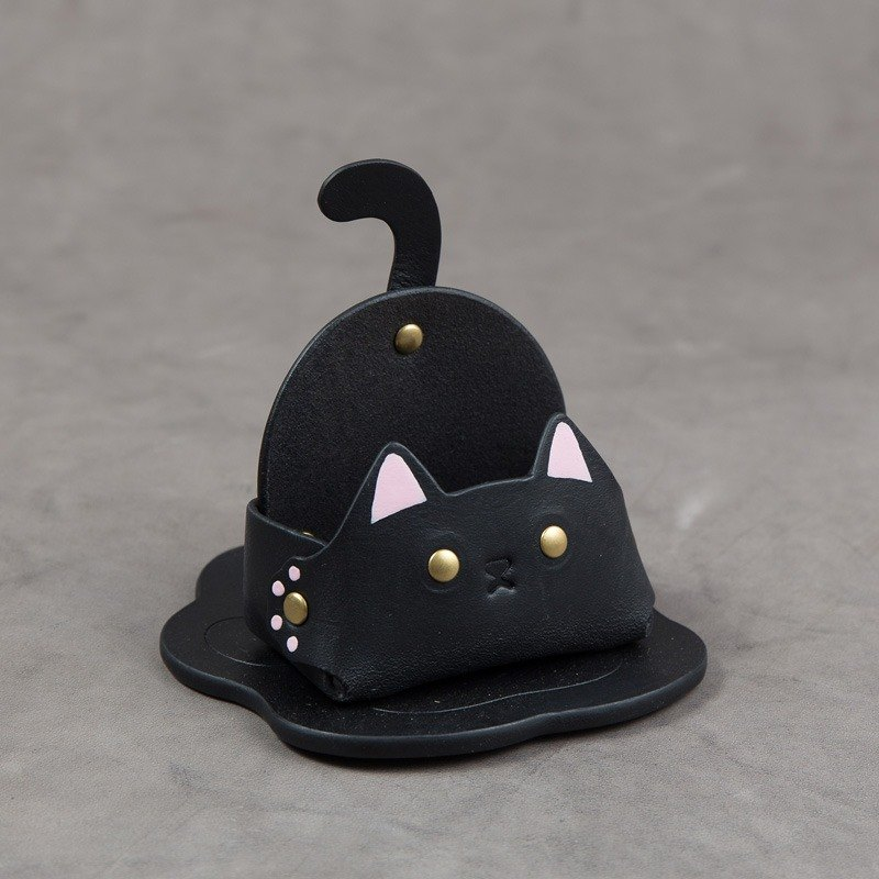 Business card holder mobile phone holder (narrow-black cat)