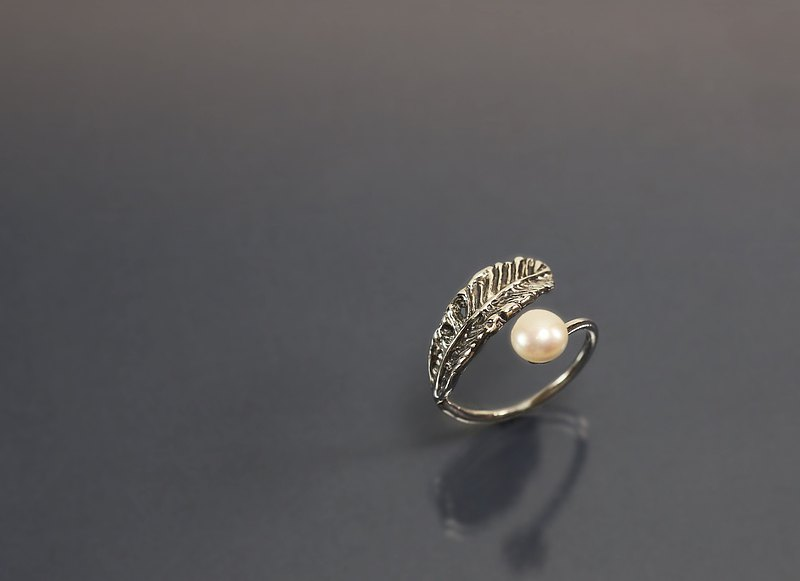 Image Series-Feather Pearl 925 Silver Ring
