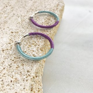 Bicolor silk hoop earrings sky blue +violet