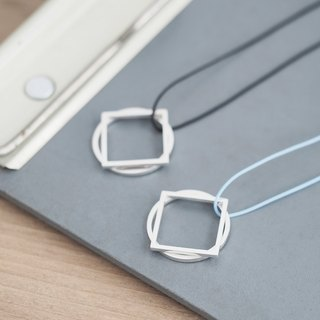 String round-square 2way long necklace Silver 925