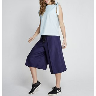 (FIT1701PT04BL) deep blue design paragraph pleated pants