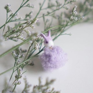 |Unicorn forest | Lavender pale purple rabbit fur ball pair of earrings / ear clip