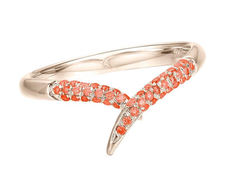 14k金橘寶石戒指 簡約優雅橙色藍寶石戒指 極簡主義結婚戒指對戒