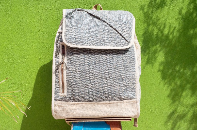 Cotton and linen stitching design backpack / shoulder bag / ethnic mountaineering bag / computer backpack - blue hill geometry
