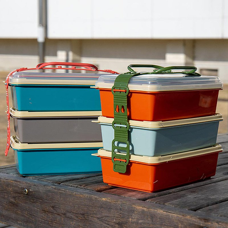 Three-layer picnic box / long type (2 colors optional)