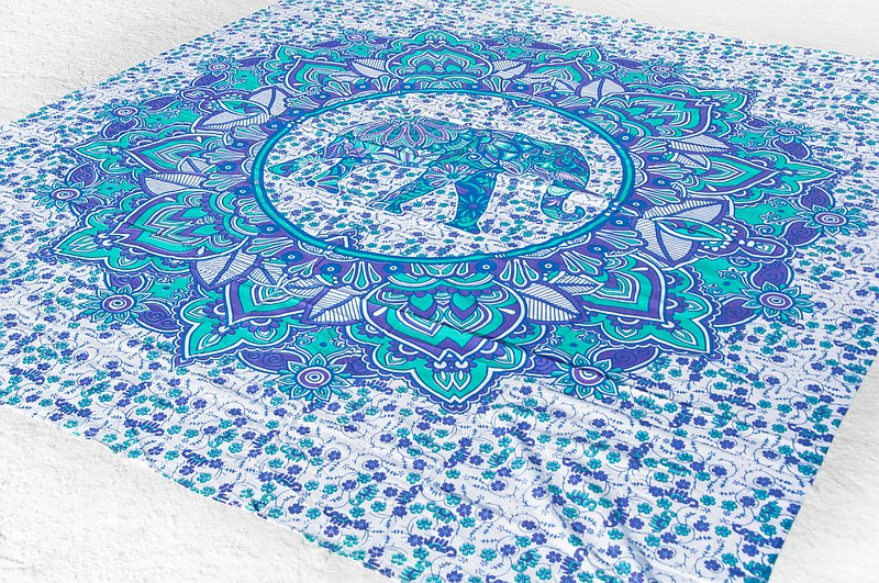 Indian flower pure cotton double bed single mandala totem rendering bed sheet fabric-elephant world mandala