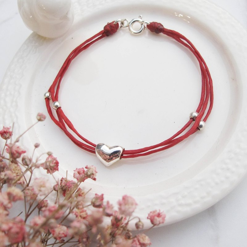 Da Yuan Zi [Handmade] Love × Red Line Marriage Wax Rope Bracelet Peach Blossom Lucky Fortune