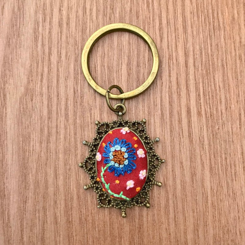 Hand-embroidered charm / key ring - cosmos