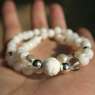 [Spirituality] Small handy natural white pearl / carved lotus white 砗 磲 / white crystal / bead / 925 sterling silver beads • double ring bracelet gift
