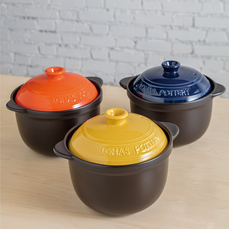Lecai Double Covered Pottery Pot 2.8L Fashionable Fun 3 Color Optional Pottery Pot Rice