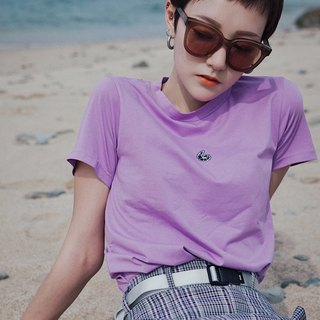 Shrimp Embroidered Violet Top