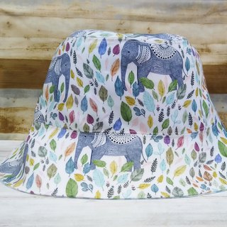 Exotic wind color leaf totem elephant light blue check double-sided fisherman hat visor