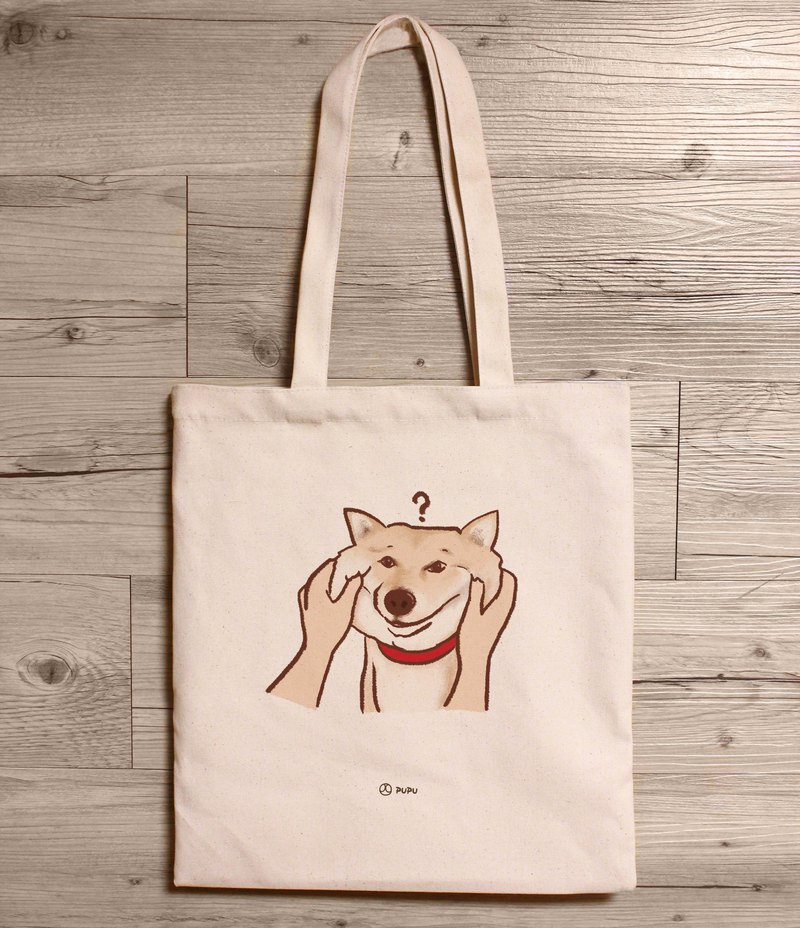 Shiba Inu - pinch face - shoulder canvas bag - Taiwan cotton linen - bag - fly planet