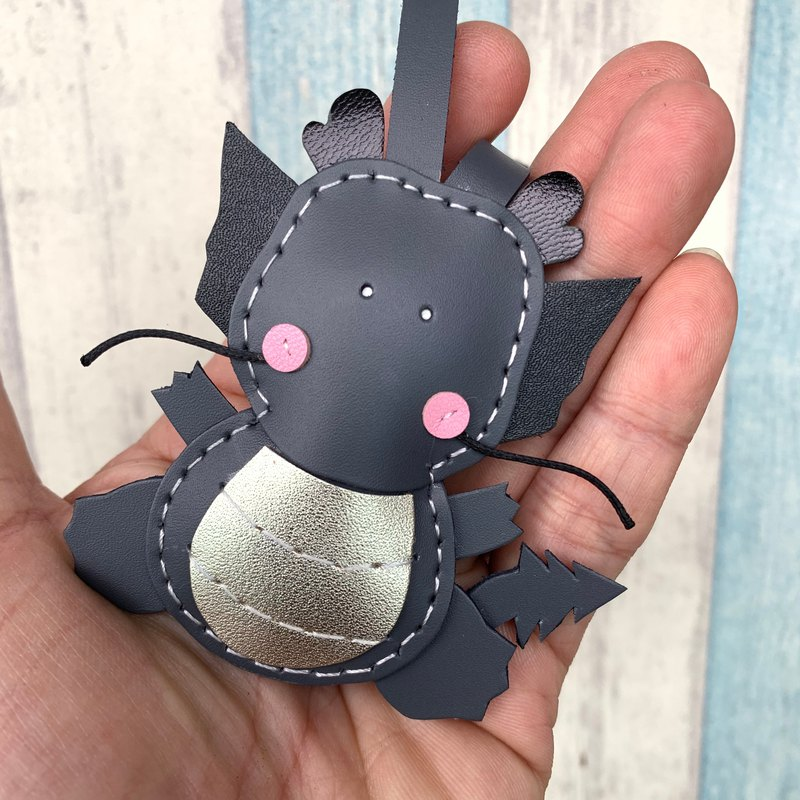 Healing small things dark gray cute little dragon hand-sewn leather charm small size