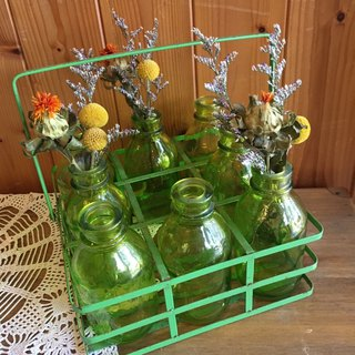 [Good day fetish] Germany Vintage green transparent exquisite vintage milk bottle and retro iron frame equipment decorations / Christmas exchange gift / early hand-blown glass (excluding dried flowers)