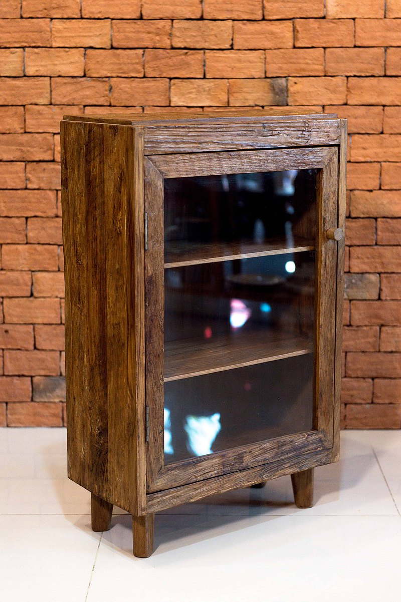 Thai handmade teak glass cabinet