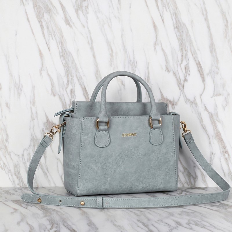 Hot Selling Blue Color Synthetic Leather Petite Twin Shoulder Handbag