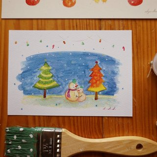 Xue delicate children :: :: Snowman Hug Winter Postcard / Card