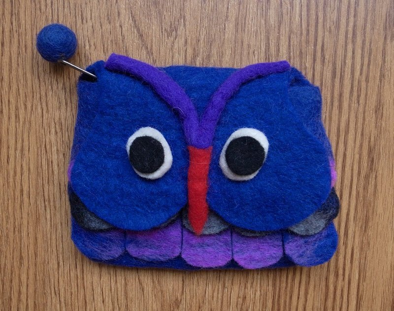 Zippered coin purse pouch purse wool fabric Owl Dark Blue