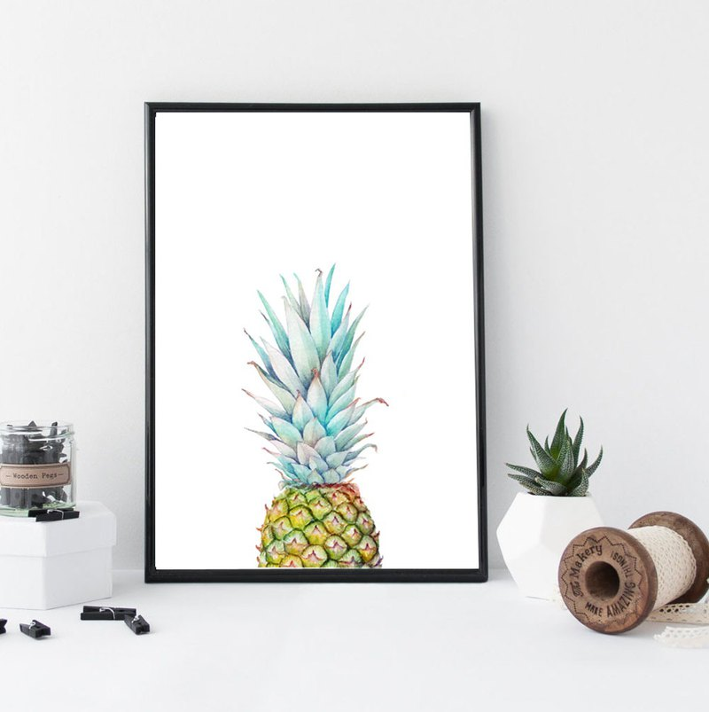 【Pineapple】Limited Edition Watercolor Print. Tropical Fruit Painting Wall Art.