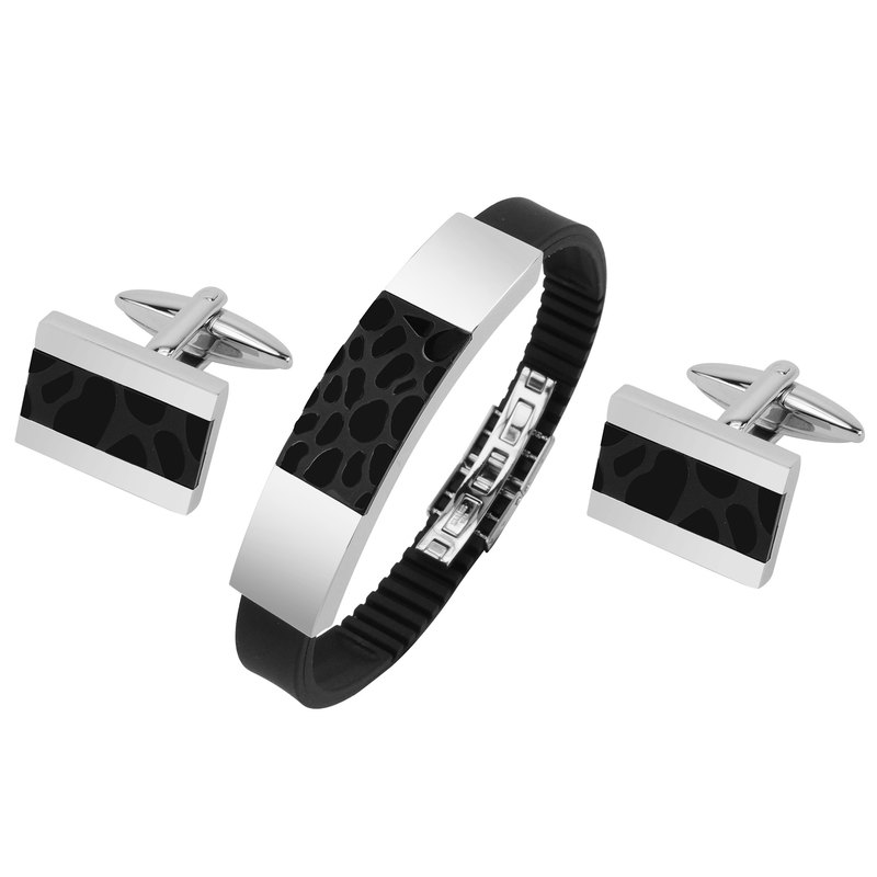 Stainless Steel Two Tone IP Black Cufflinks and Bracelet Set
