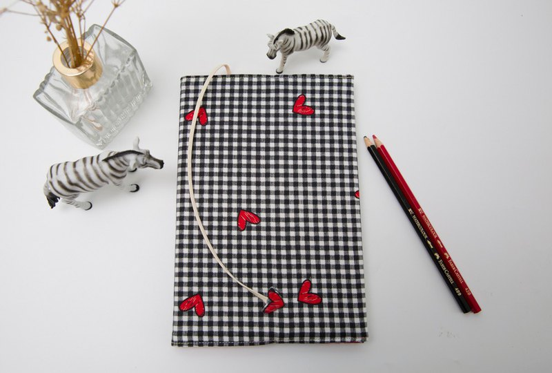 (hearts and hearts) cloth book cover A5 / book / adjustable book / book / book cover