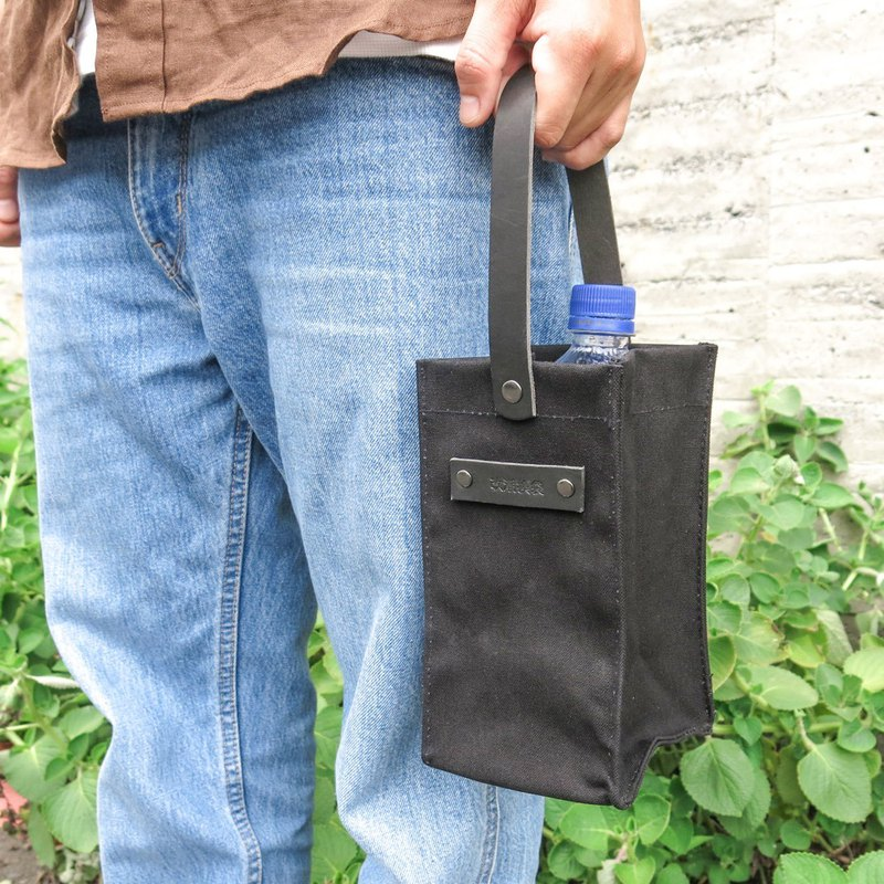 Leather sail with belt, bag - eye-catching black drink bag can hold drinks, wallet [change tide change bag]