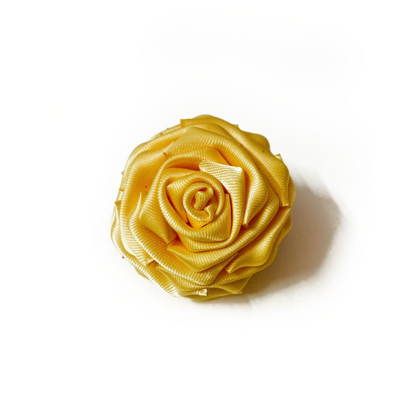 Traditional Japanese Tsumami Kanzashi Yellow Rose Hair Clip and Brooch