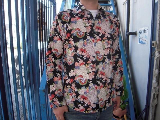 Long-sleeved shirt Japanese Pattern (flower pattern in ox-drawn carriage)