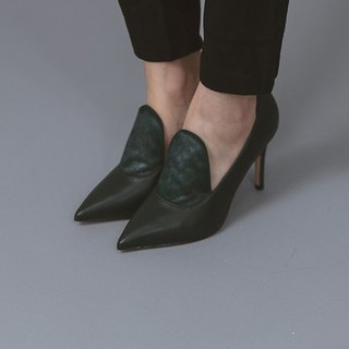 Exquisite horse hair with pointed leather ankle boots green
